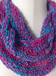 Long Lace Infinity Scarf Blue Fuchsia Purple by StitchesnQuilts