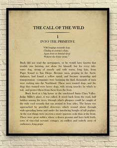Classic Book Page, Jack London Novel, The Call of the Wild, Chapter Page Book Page Wall Art, Book Page Art Print Book Page Art, Book Pages, Book Art, Paper Ship, Call Of The Wild, Crisp Image, Classic Books, Creative Art, Book Lovers