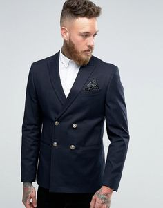 ASOS Skinny Double Breasted Blazer In Navy with Gold Buttons