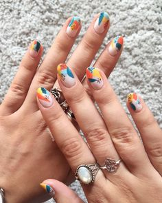 Abstract nails with summer colors🧡 I'm in love with this style Orange Nails, Blue Nails, Black Dots, Summer Colors, Summer Nails, Manicure, Nail Designs, Nail Art, Photo And Video