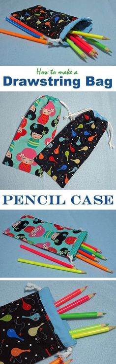 Learn how to make a lined drawstring bag to hold a set of pencils. This pencil case is light and portable. Tutorial at Threading My Way