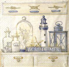 """Serviette en papier déco Marine /Vintage - """"Bord de Mer"""""""