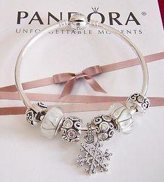 "pandora bracelets   ... SNOW"" Authentic New Pandora Bangle With Pandora Charms 20% Off Retail"