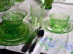 Depression Glassware - green.  Antique collecting in downtown Martinez or San Juan Bautista, California.