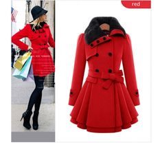 Women Ladies Winter Double-Breasted Wool Pleated Falbala Trench Coat Jacket  Sale: $40.80 49%