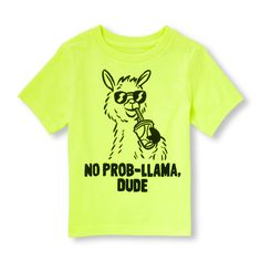 s Toddler Boys Short Sleeve 'No Prob-Llama' Neon Graphic Tee - Yellow T-Shirt - The Children's Place