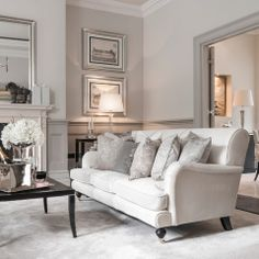 English rolled arm sofa. Gray painted wood trim Cleeves House - traditional - living room - london - Alexander James Interiors