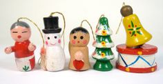 Wooden Christmas Ornaments  Set of 6 by ChestnutStSmallHouse, $6.00