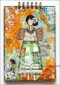Mixed media notebook. Size 15*21 cm. Made by Daria Pneva. Based on Christy Tomlinson workshop She Art.