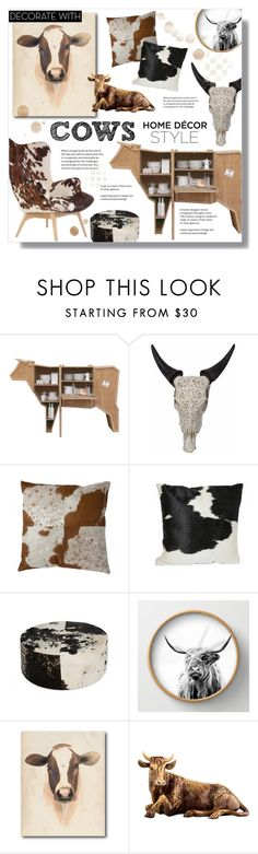 """Decorate with... Cows! :)"" by alexandrazeres ❤ liked on Polyvore featuring interior, interiors, interior design, home, home decor, interior decorating, Courtside Market, Jay Strongwater, fun and homedecor"
