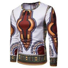 African Fashion Robe Africaine Hip Hop Printed Dashiki Casual Dress T-Shirt Dashiki Shirt, Dashiki For Men, African Dashiki, Cheongsam, Vetement Hip Hop, Royal Enfield Accessories, Georgia, Long Sleeve Fitted Dress, Men's Fashion Styles