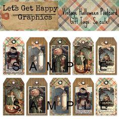 Vintage Halloween gift tags. Old post card ephemera. Cute pumpkins doing cute things! Love love!
