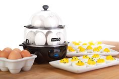 Omelette Maker, Egg Cooker, & Veggie Steamer for RV Living & Camping. Pretend you're still at home and happy by spoiling yourself with an electric breakfast appliance for RV living or any camping with electricity access. Boiled Egg Maker, Boiled Eggs, Ceramic Egg Cooker, Camping Breakfast, Breakfast Meals, Steam Veggies, Specialty Appliances, Hard Boiled, Pampered Chef