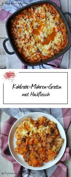 Kohlrabi and carrot gratin with minced meat - Essen Trinken - Meat Recipes Healthy Eating Tips, Clean Eating Recipes, Healthy Food, Chou Rave, Meat Recipes, Healthy Recipes, Minced Meat Recipe, A Food, Food And Drink