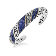 18K Yellow Gold and Sterling Silver Spiral Look Hinged Cuff with Blue Sapphires