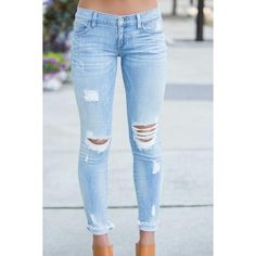 No Pressure Distress Jeans ❤ liked on Polyvore featuring jeans, ripped jeans,  destruction jeans 610ce508c365