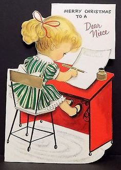 Vintage Christmas Card Greeting Little Girl At Desk Writing Letter To Santa