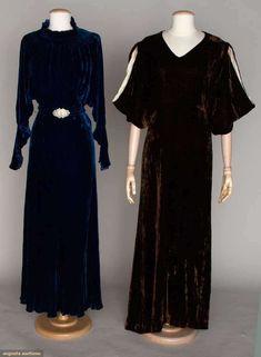 Augusta Auctions, November 14, 2012 NEW YORK CITY, Lot 41: Two Silk Velvet Evening Gowns, 1930s