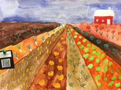 Syksyn satoa pellolla. Yhden pakopisteen perspektiivi. QR-koodin takana tietoa kasviksista. Autumn Crafts, Autumn Art, Art For Kids, Crafts For Kids, Arts And Crafts, School Fun, Art School, Perspective Art, Farm Art