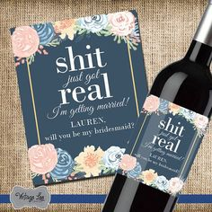 Will You Be My Bridesmaid Wine Label, Custom Wine Label, Wine For Bridesmaids, Asking Bridesmaids, Bridesmaid Proposal, Navy Gold Wedding  Will you be my bridesmaid wine bottle labels. Say I Do with your friends by your side. Looking for a unique way to ask your wedding party? These wine bottle labels are just the thing. The label features a navy, gold and blush color scheme.  HOW IT WORKS ------------------------------------------------------------------------ 1. Each label measures 4x5 and…