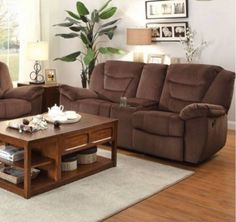 Cardwell Microfiber Double Glider Reclining Loveseat w/Console
