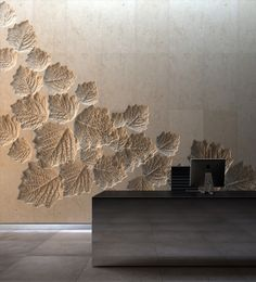 Texture Wall Design Use Reverse Mould In A Poured Concrete Wall Interior And Exterior Create Patterns With Organic Shapes Hotel Lobby Design Asian Paints Textured Wall Designs Cost Lobby Design, Design Entrée, House Design, Design Hotel, Leaf Design, Garden Design, Design Ideas, Design Trends, Floor Design