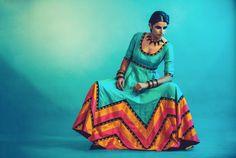 Priyal Prakash Turquoise #Anarkali With Pink, Orange & Black Zigzag Design.
