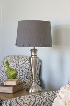 hot glue lamp shade cover. Cute button accents. Like the texture it adds.