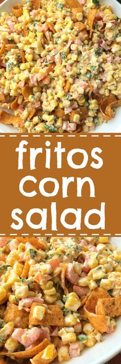 Fritos corn salad will be one salad that no one will forget! Loaded with corn vegetables a creamy spiced dressing and an entire bag of Fritos Chili Cheese corn chips. So many flavors and textures. It's the perfect salad for a BBQ picnic or a potluck. Corn Salad Recipes, Corn Salads, Veggie Recipes, Mexican Food Recipes, Cooking Recipes, Cold Corn Salad, Spinach Salads, Taco Salads, Picnic Recipes