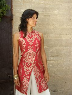 Items similar to Bold women's tunic-Evening tunic/jacket-The WOMAN WARRIOR TUNIC- Evening wear-Wedding gown-Elegant evening wear-Art to wear-red and gold on Etsy Choli Designs, Kurta Designs, Blouse Designs, Kurti Patterns, Dress Patterns, Indian Attire, Indian Wear, Indian Dresses, Indian Outfits