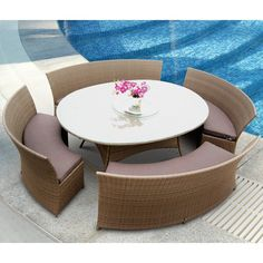 """Tosh Furniture 5 Piece Brown Outdoor Dining Set $1799 round Table is oval 60 x 80 THIS COULD SEAT TEN or more  Short curve benches are 31"""" wide and long curve benches are 50"""" wide"""