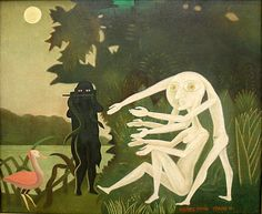 From ARS/Art Resource, Victor Brauner, The Encounter of 2 bis rue Perrel Oil on canvas, 85 × 105 cm Victor Brauner, Guggenheim Bilbao, Digital Museum, Art Brut, Famous Art, Expositions, Outsider Art, Fantastic Art, City Art
