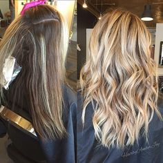 Before and after - honey blonde upgrade. Color by @hairbyamberjoy #hair…