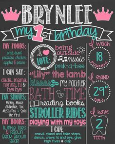 Princess Pink and Teal First Birthday by PersonalizedChalk on Etsy