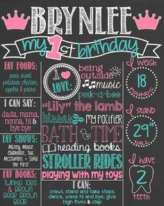 Princess Pink and Teal First Birthday Chalkboard Poster Girl 1st Birthday Chalk Board Custom Printable Boy or Girl
