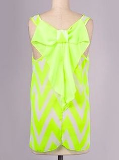 Neon Yellow Chevron Bow Top - $36.99 : FashionCupcake, Designer Clothing, Accessories, and Gifts