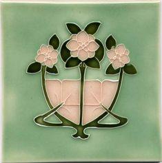 Art Tile - Art Nouveau Flowers, Pink and Green on Light Green Background. Fleurs Art Nouveau, Motifs Art Nouveau, Azulejos Art Nouveau, Design Art Nouveau, Art Nouveau Flowers, Mosaic Art, Mosaic Tiles, Art Tiles, Tiling
