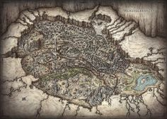 Welcome to Menzoberranzan! A poster map of the underdark capitol of the Drow.
