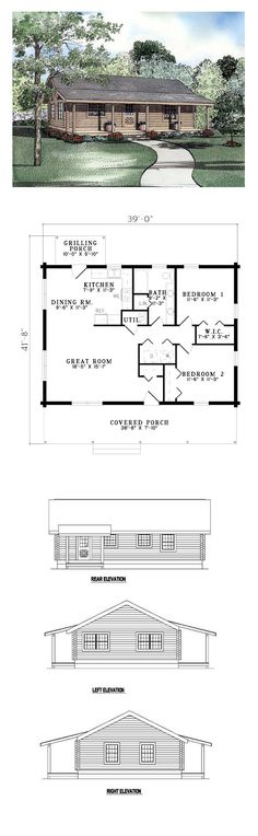 Log House Plan 61114 | Total Living Area: 1092 sq. ft., 2 bedrooms and 1.5 bathrooms. A simple straight-lined design featuring a front covered porch perfect for stargazing and a cup of hot chocolate. A cozy entry hall leads to an open floor plan containing a spacious Great Room, Kitchen and large Dining Room. #loghome Log Home Kits, Log Home Plans, Cabin Plans, Small Log Homes, Tiny Homes, Room Kitchen, Dining Room, Log Home Builders, Somewhere Down The Road