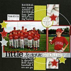 Layout: Little League 2012 School Scrapbook Layouts, Scrapbook Layout Sketches, Scrapbooking Layouts, Scrapbook Paper Crafts, Scrapbook Cards, Scrapbook Templates, Baseball Scrapbook, Softball Pictures, Cardmaking