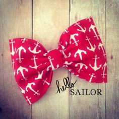 Anchor red and white nautical fabric hair bow okra by SplendidBee, $5.00