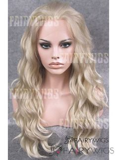Prevailing Long Blonde Female Wavy Lace Front Hair Wig 22 Inch