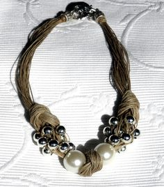 Necklace natural linen thread knots resine pearls silver metal pearls