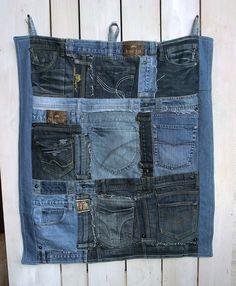 Utensilos & Stoffkörbchen - Jeans-Utensilo Wandbehang - ein Designerstück von kattikaos-Kleidsames