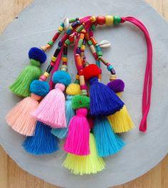 Large Handmade Tassel Pom Pom Bag Accessory