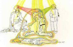 Fig. 47: Energias de dimensões superiores começam a chegar no ambiente. Sob o efeito salutar, a aparência extrafísica do enfermo começa a melhorar. Leia mais em: Amparadores Extrafísicos II #WagnerBorges #AssistenciaEspiritual #ViagemAstral #ProjecaoAstral #ExperienciasForadoCorpo #ProjecaoDaConsciencia  #ViagemEspiritual #EFC #OBE #OutOfBodyExperiences #AstralProjection #ImortalidadeDaConsciencia  #VidaAposAMorte #DiscernimentoEspiritual #Chakras #Chacras #AstralVoyage