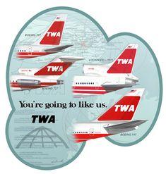 TWA Trans World Airlines logo classic retro t-shirt
