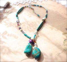 Multi Stone Necklace Turquoise and Crystal by TheCrystalCorral