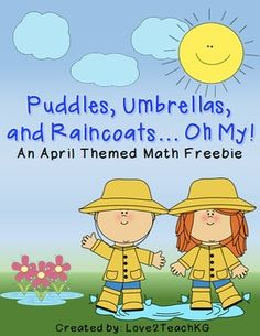 FREEBIE! Puddles, Umbrellas, and Raincoats... Oh My! An April Themed Math Freebie.  Skills include: color by code addition and subtraction, count by 5s, even/odd, count and tally, and more.  Love2TeachKG - TeachersPayTeachers.com