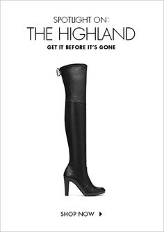 Unequivocally the hottest boot of the season, this sky-high thigh-high is already at the top of the trendiest tastemakers' must-have list. Work the look with leather shorts, a miniskirt or a structured Mod dress; or make it your own with a tunic top, leggings and a statement cuff.  Pull on with tie top Stretch suede and plonge stretch are genuine leathers spliced and backed with Lycra to create the fit factor of a legging Heel measures approximately 3 ¼ inches Shaft measures approximately…
